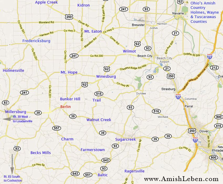 Ohio Amish Country Map Ohio Amish Country Map Ohio Amish Country Map