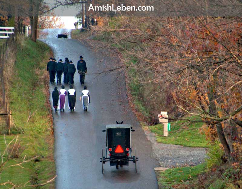 Amish going to church